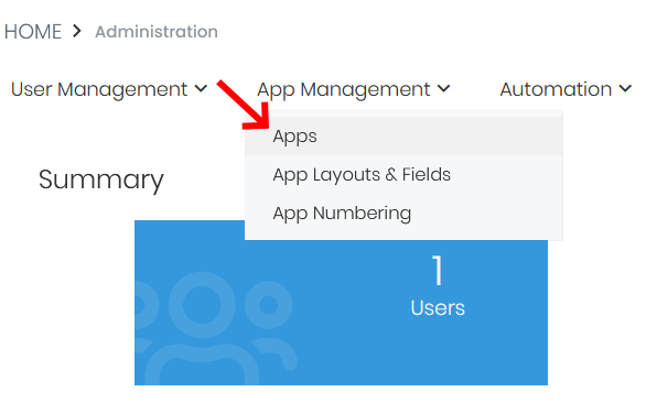 Apps under App Management in Simply