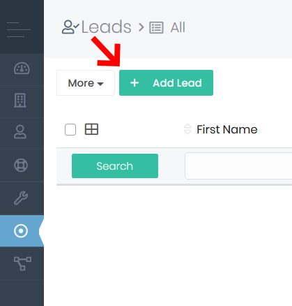 Add Lead Button within Leads App