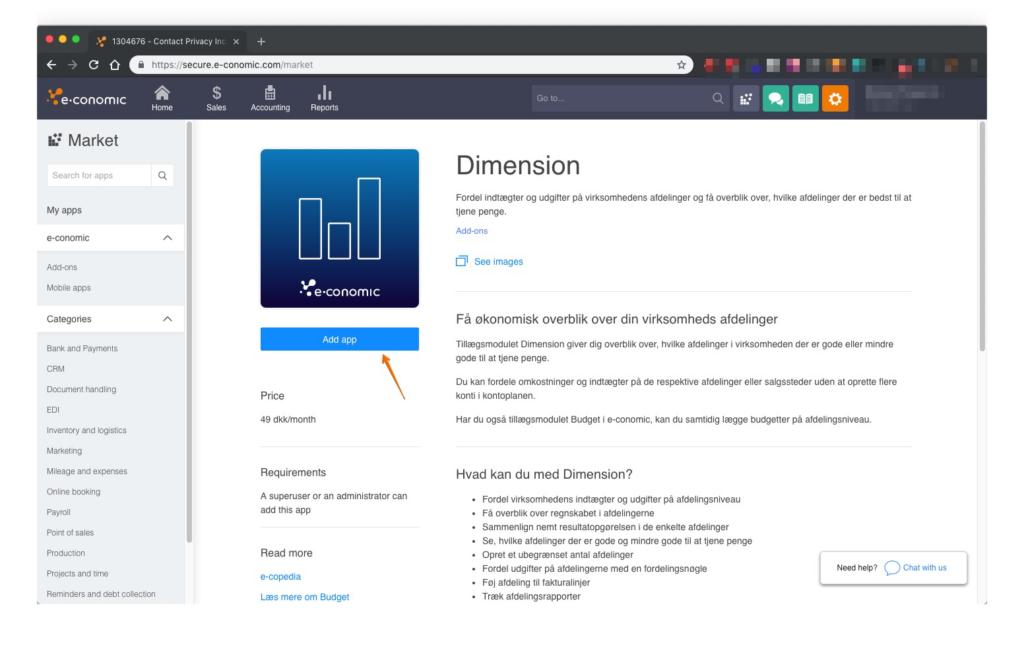 Tilføj tilføjelse til dimension i E-conomic